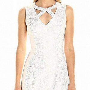 GUESS White Silver Metallic Cut Out Bodycon Dress